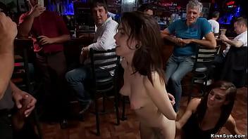 Petite slut anal fucked in public bar