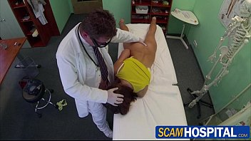 Sexy brunette Zuzana gets pussy fucked in the examining table by the doctor