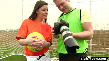 Teen female footballer fucks photographer