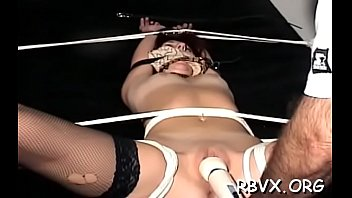 Shy girl gets tied up and manhandled in slavery scene