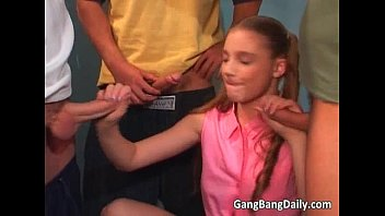 Dirty blonde school blows dick and gets