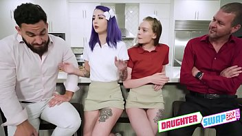 Dads Dick Swardson and Peter Green are tired of seeing their daughters Jessae Rosae and Val Steele waste their lives always being on their phones, so they decide to go out and teach them how to ride a bike - FULL SCENE on http://DaughterSwap3X.com