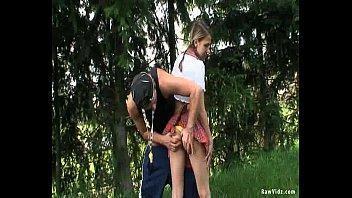 Girl in school uniform outdoor sex