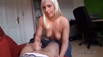 German Teen helps Friend of her Sister with Handjob and Comes On Tits