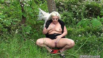 Chubby goth exhibitionist Eden in outdoor public nudity and masturbating voyeur thumbnail