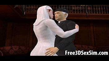 Foxy 3D cartoon nun sucking on a priests hard cock
