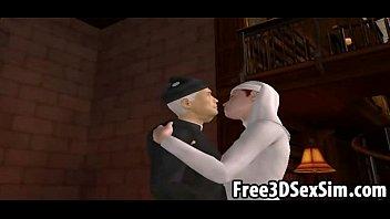 thumb Foxy 3d Cartoon Nun Sucking On A Priests Hard Cock