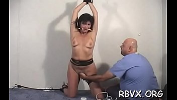 Girls get bounded jointly and titillated by a sex-toy