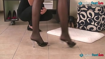Two lesbians has footfetish fun while in a shoe store