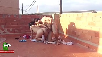 Fucking the brunette on the terrace of the building ADR00134