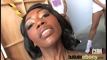 Hot ebony chick in interracial gangbang 26