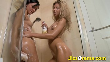 Jizzorama -  Two Horny BFF Play With HUGE Sextoys In The Shower