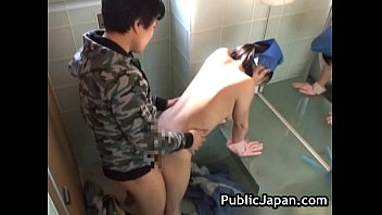 Real real asian toilet attendant cleans