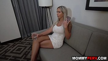 Tipsy stepmom sucks son'_s cock because dad is really bad at sex