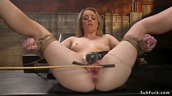 Hot tied blonde is brutal anal banged