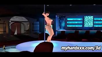 Gorgeous 3D Cartoon Stripper Babe Struts Her Stuff