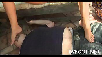 Cutie gets her feet in face and then gives a steamy footjob