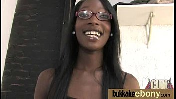 Ebony babe sucks too many white cocks 26