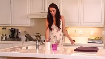 Housewife Bianca Breeze Fingers Her Hairy Pussy In The Kitchen Until She Squirts