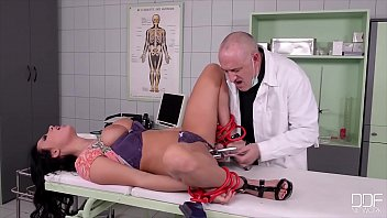 The patient strapped to the bed, and his sexy girlfriend having sex with a doctor, bitch