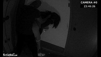 stranger rough fuck brunette when she returned from the club - hidden camera