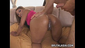 Tanned asian whore gives her most prescious holes away