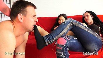 MIRA CUCKOLD AND HER GIRLFRIEND - FOOT SLAVE TRAINING  #1174972