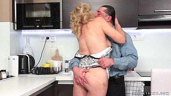 Granny kitchen sex