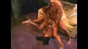 Brunette girlfriend blowjob and hardcore fuck in the sofa gets facial