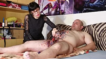 Cbt w Wax torture by sexy goth domina for fat slave pt2 HD