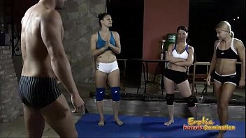 Submissive girl boy wrestling those