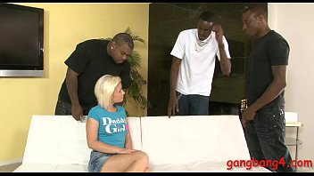 Pretty blonde biatch takes black cocks in her fuckholes