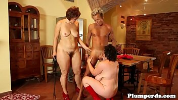 Mature femdom plumpers trio with male sub  #1230553