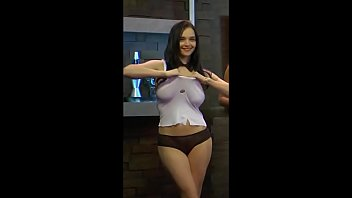 Eugenia Diordiychuk rips her white shirt apart on Playboy Morning Show
