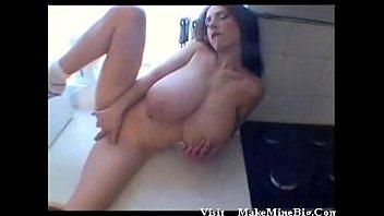 Gigantic titted milf masturbates