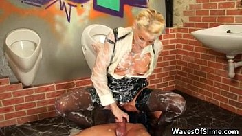 Dirty jizzed girl gets her cunt fucked