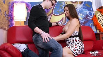 Perfect tits sexy model ride big cock on red sofa