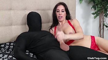 Beautiful girl fucks hard with a masked stranger
