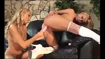 Nice tits blonde lesbo duo Sue Diamond and Katie Gold on couch finger fucking each other&#039_s snatch