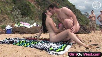 Cutie fucking a  stranger at the beach e beach