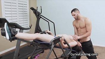 Busty Kyra rides a big cock at the gym