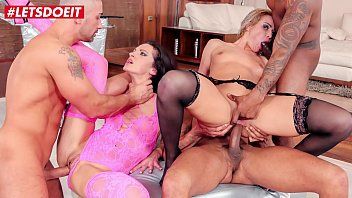 Letsdoeit rough anal gang bang with two hot...