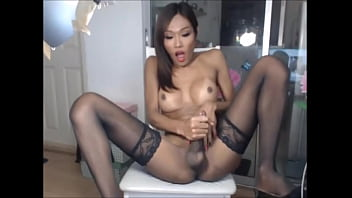 Dirty-minded shemale whore likes it unfathomable in face hole and ass