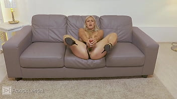 Nathaly Cherie masturbates with a big wooden dildo and got orgasm
