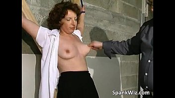 Tied sexy brunette gets her hot ass