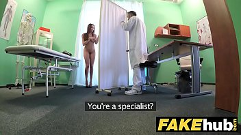 Fake Hospital Tall brunette patient with big natural tits swallows docs cum