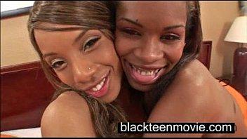 Two black teen cuties in a threesome in...