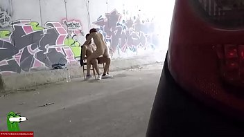 Hidden cam records them fucking in a tunnel. SAN110