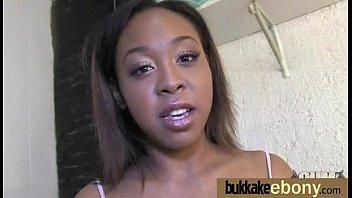 Ebony babe sucks too many white cocks 6