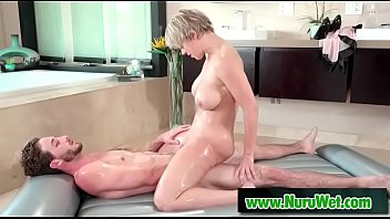 chunky milf porn Busty masseuse using her boobs for massage